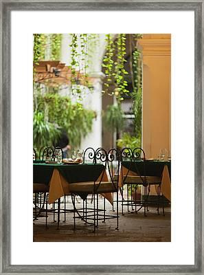 Cuba, Havana, Havana Vieja, Restaurant Framed Print by Walter Bibikow