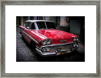 Cuban Vintage Red Framed Print