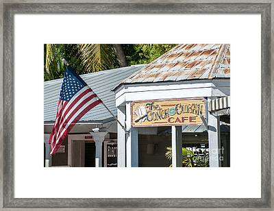 Cuban Cafe And American Flag Key West Framed Print