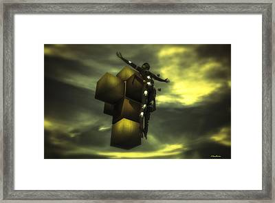 Cube Cross Framed Print by Ramon Martinez