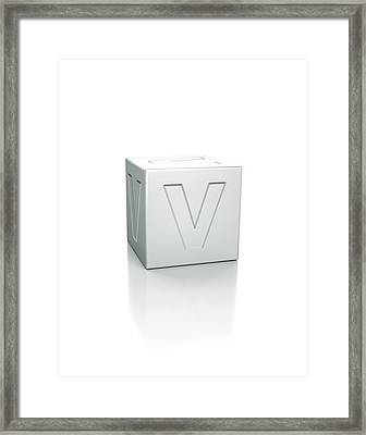 Cube With The Letter V Embossed Framed Print by David Parker/science Photo Library