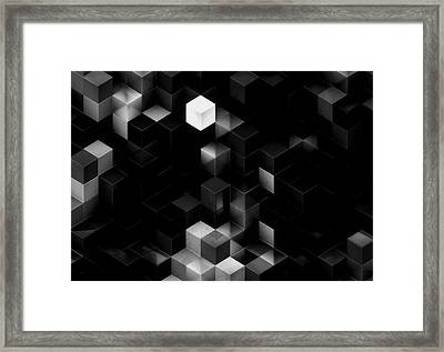 Cubed - Black And White Framed Print by Jack Zulli