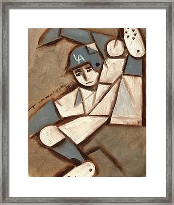Cubism La Dodgers Baserunner Painting Framed Print by Tommervik