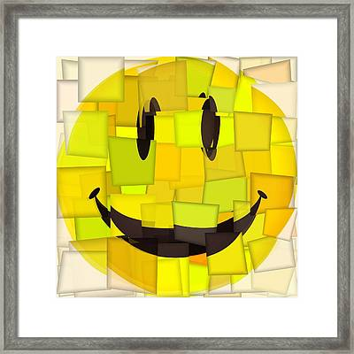 Cubism Smiley Face Framed Print by Dan Sproul