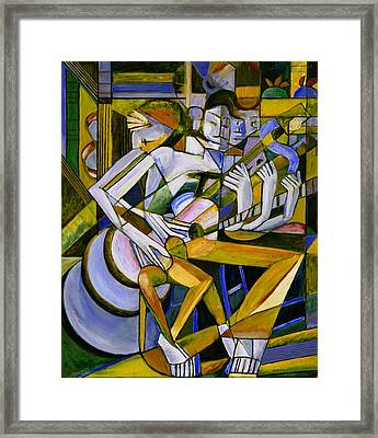 Cubist Descending Guitar Yellow Framed Print by Terrie  Rockwell