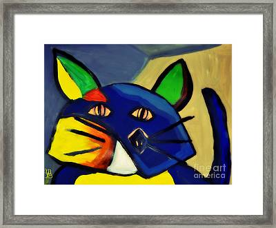 Cubist Inspired Cat  Framed Print by Mindy Bench
