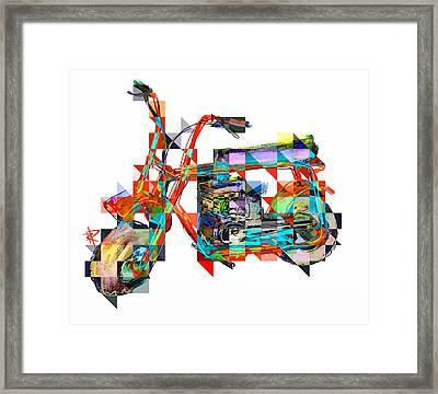 Cubist Mini Bike Framed Print by Russell Pierce