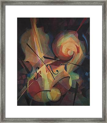 Cubist Play - Abstract Cello Framed Print by Susanne Clark