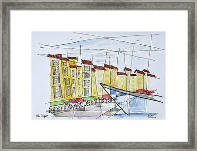 Cubist Waterfront Abstract Framed Print