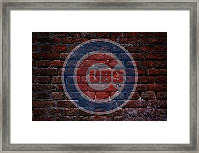 Cubs Baseball Graffiti On Brick  Framed Print