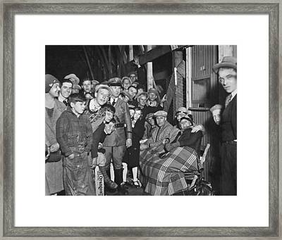 Cubs Fans For World Series Framed Print by Underwood Archives
