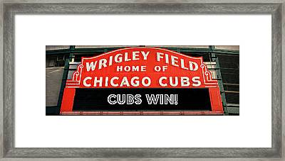Cubs Win - Wrigley Sign Framed Print by Stephen Stookey