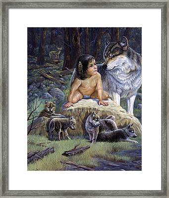 Cubsgregory Perillo Western Art Wildlife Art Landscape Art Indian Art Animal Art Children Art Oil Pa Framed Print by Gregory Perillo
