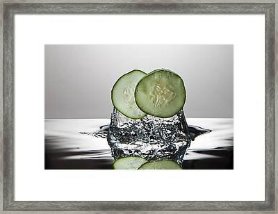 Cucumber Freshsplash Framed Print by Steve Gadomski
