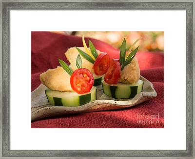 Cucumber With Hummus Framed Print by Iris Richardson