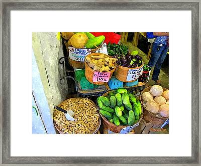Cucumbers Peanuts And Melon Framed Print by Buzz Coe