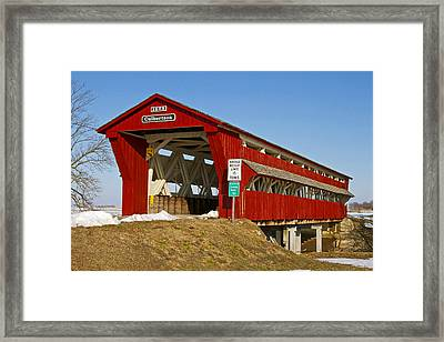 Culbertson Or Treacle Creek Covered Bridge Framed Print by Jack R Perry