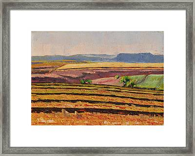 Framed Print featuring the painting Cultivated Fields Near Ficksburg South Africa Bertram Poole by Thomas Bertram POOLE