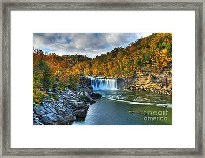 Cumberland Falls In Autumn Framed Print by Mel Steinhauer