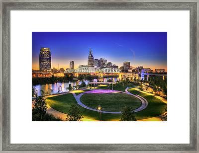 Cumberland Park And Nashville Skyline Framed Print