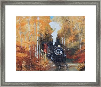 Cumbres And Toltec Railroad Steam Train Framed Print by Cecilia Brendel