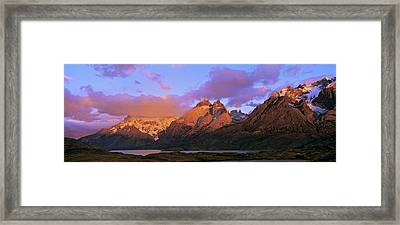 Cumbres, Torres And Cuernos Del Paine Framed Print by Martin Zwick