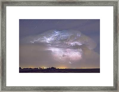 Cumulo-nimbus Lightning Storm And Star Trails Above Framed Print by James BO  Insogna