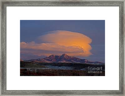 Cumulus Cloud Cap Over Heart Mountain   #2022 Framed Print