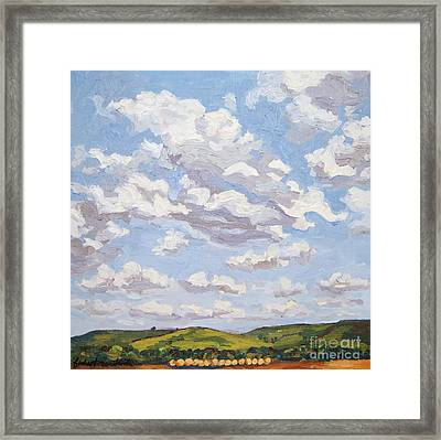 Framed Print featuring the painting Cumulus Clouds Over Flint Hills by Erin Fickert-Rowland