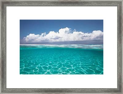 Cumulus Clouds Over Sea, Aqua Framed Print