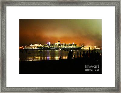 Framed Print featuring the photograph Cunard's 3 Queens by Terri Waters
