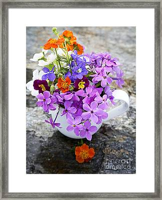 Cup Full Of Wildflowers Framed Print by Edward Fielding