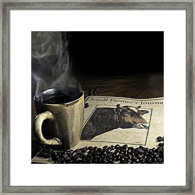 Cup Of Coffee And Small Farmer's Journal 1 Framed Print