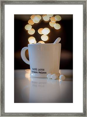 Cup Of Coffee On Chirstmas Light Background Framed Print by Aldona Pivoriene