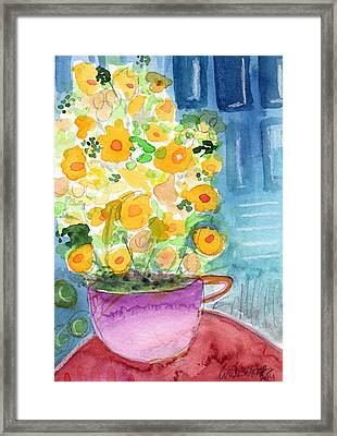 Cup Of Yellow Flowers- Abstract Floral Painting Framed Print by Linda Woods