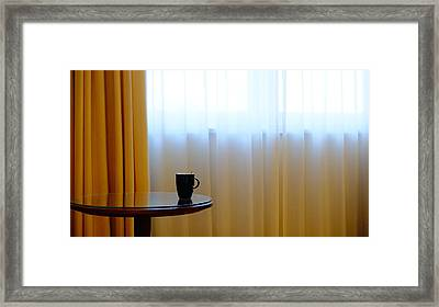 Cup On Table Framed Print