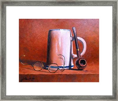 Cup Pipe And Glasses Framed Print