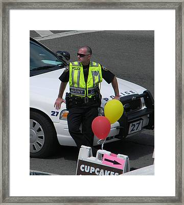 Cupcake And Balloon Checkpoint Framed Print by Christy Usilton