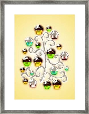 Cupcake Glass Tree Framed Print