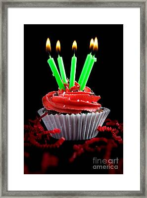 Cupcake With Candles And Flames Framed Print by Cindy Singleton