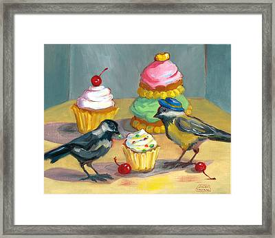 Cupcakes And Chickadees Framed Print by Susan Thomas