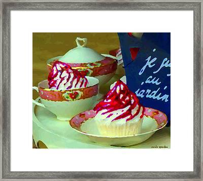 Cupcakes And Tea Je Suis Au Jardin Coffee Shop City Scene Cafe Montreal Food  Art Carole Spandau Framed Print by Carole Spandau