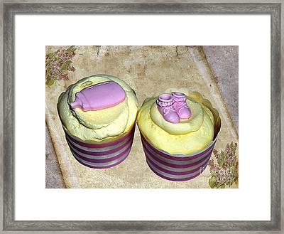 Cupcakes - Booties And Baby Bottle Framed Print by Kaye Menner