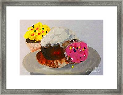 Framed Print featuring the painting Cupcakes by Marisela Mungia