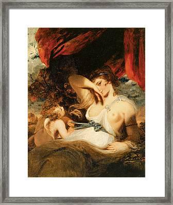 Cupid Untying The Zone Of Venus Framed Print by Joshua Reynolds