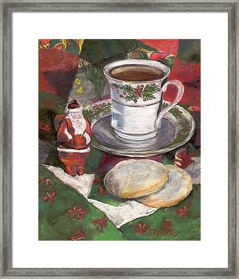 Framed Print featuring the pastel Cuppa Christmaas Tea by Julie Maas