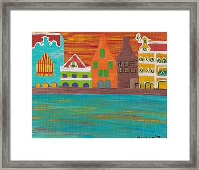 Curacao's Handelskade Abstract Framed Print by Melissa Vijay Bharwani