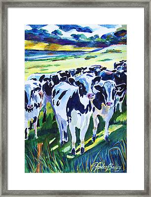 Curiosity Cows Original Sold Prints Available Framed Print by Therese Fowler-Bailey