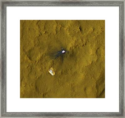 Curiosity Debris On Mars, Satellite Framed Print by Science Photo Library