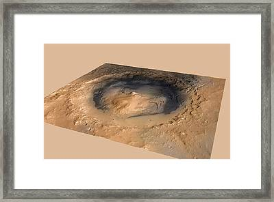 Curiosity Rover In Gale Crater, Mars Framed Print by Science Photo Library
